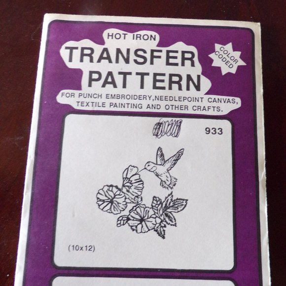 Pretty Punch hot iron transfer pattern// color coded// embroidery needlepoint etc